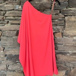 Beautiful one sleeved coral dress